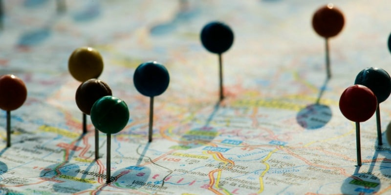 Pushpins on a map denoting user locations