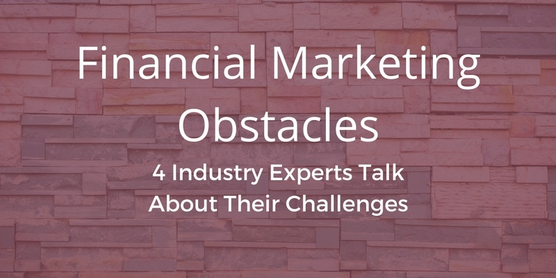 """A brick wall with a rose-colored overlay. The words """"Financial Marketing Obstacles"""" are written across the overlay"""