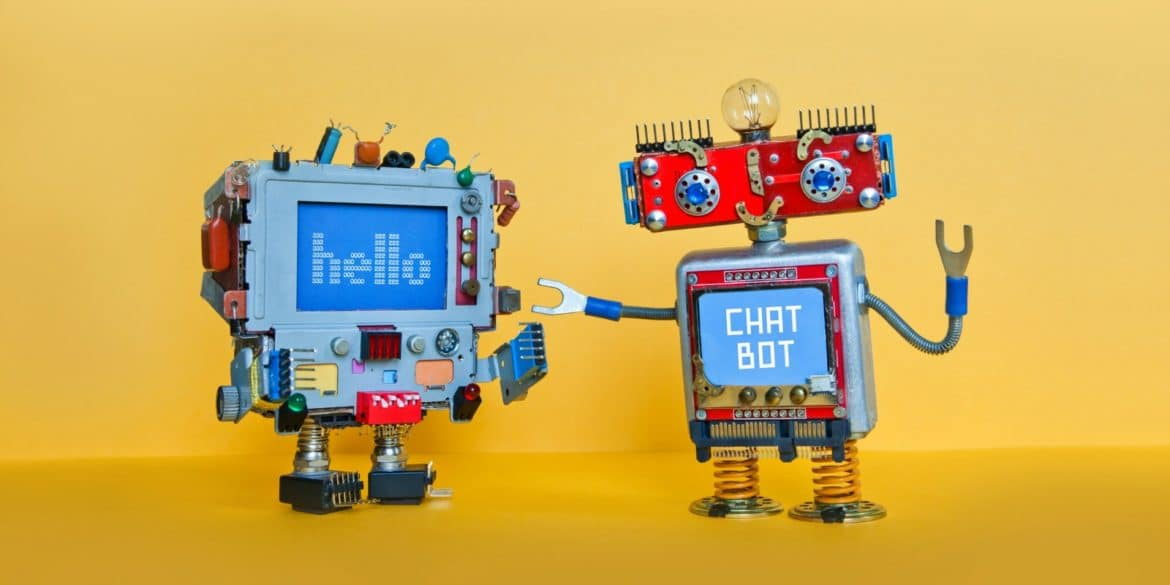 Chatbot robot welcomes another robot