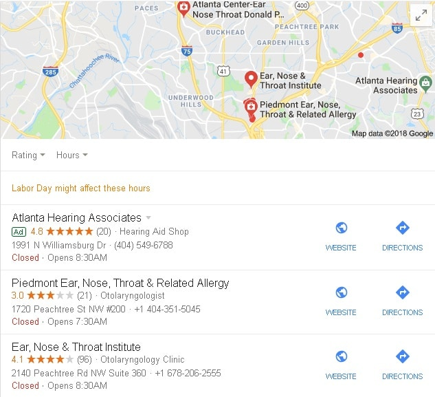 Image of Google search results, including local